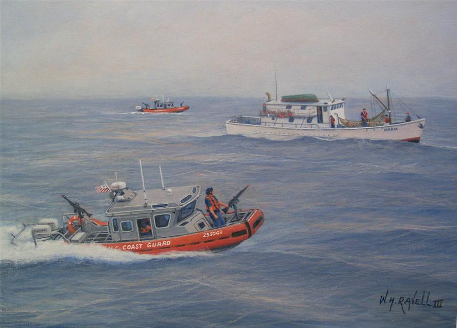 Marine Painting - Coast Guard Nets Catch Of The Day by William H RaVell III