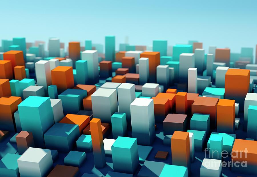 Design Digital Art - Coast Square Variation Pattern Abstract 3D Cityscape DOF by Frank Ramspott