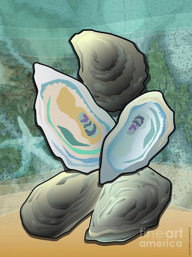 Coastal Digital Art - Coastal Chesapeake Bay Oysters by Joe Barsin