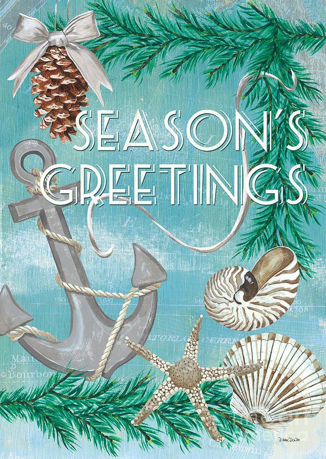 Anchor Painting - Coastal Christmas Card by Debbie DeWitt