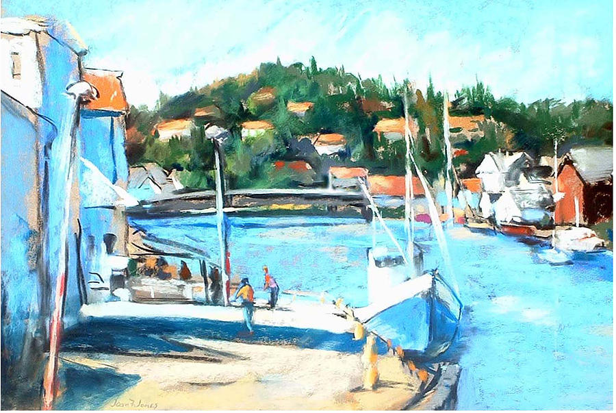 Ferry Boat Painting - Coastal Fishing Village by Joan  Jones