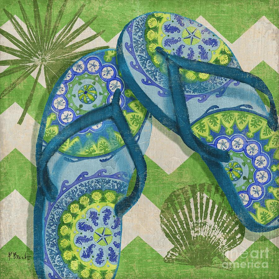 Nautical Painting - Coastal Flip Flops I by Paul Brent