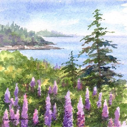 Lupines Painting - Coastal Lupines by Varvara Harmon