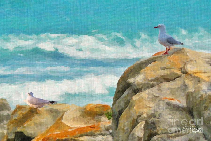 Coast Painting - Coastal Rocks by Chris Armytage