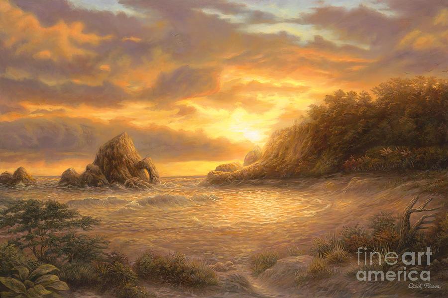 Sunset Painting - Coastal Sunset by Chuck Pinson
