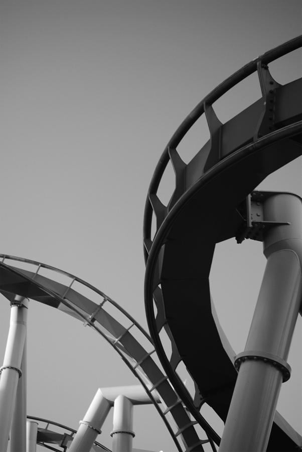 Black & White Photograph - Coaster Ride by Kimberly Camacho
