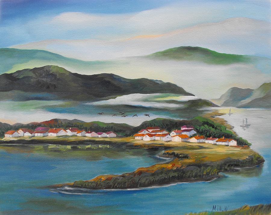 Ocean Painting - Coastline by Min Wang