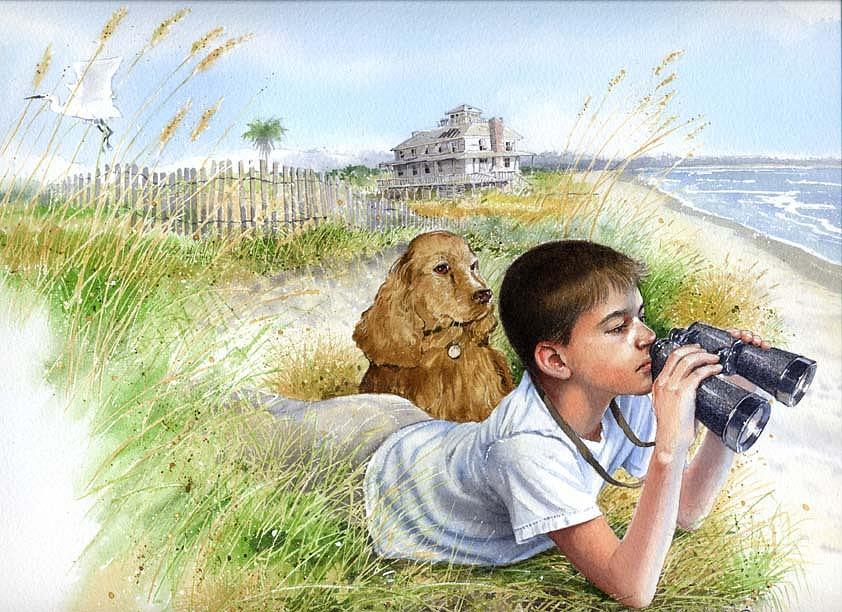 Boy Painting - Coastwatcher by Denny Bond