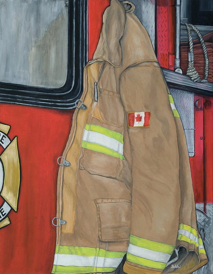 Firefighter Painting - Coat Of Courage- Canadian Flag by Bobbi Whelan