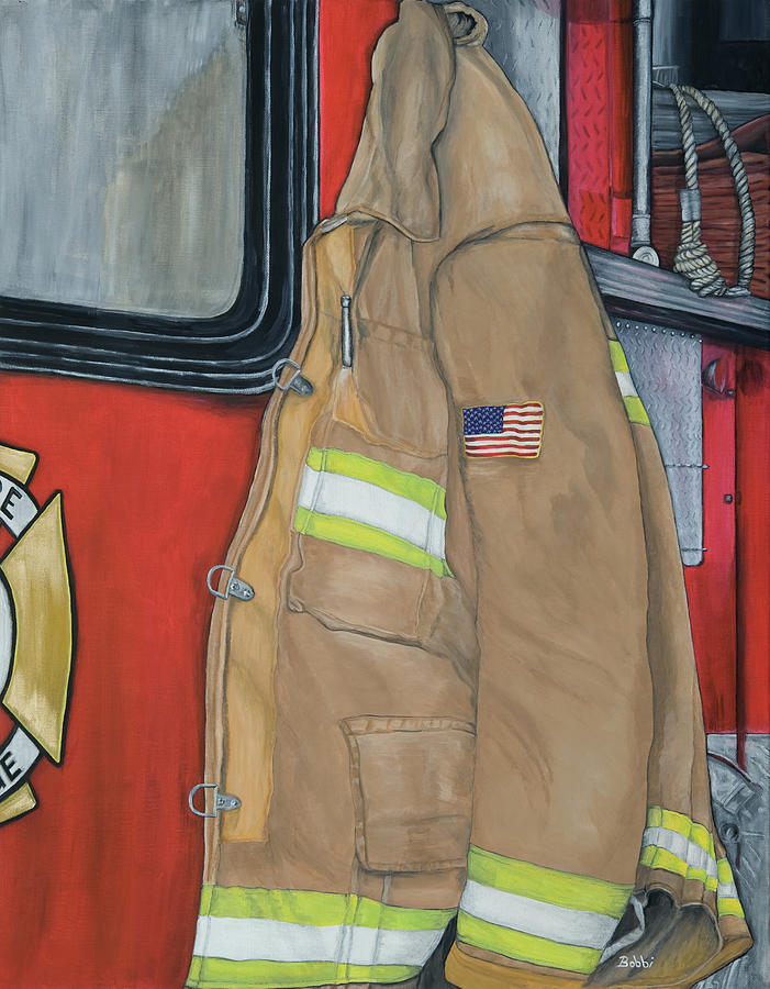 Fire Fighter Painting - Coat Of Courage U.s. by Bobbi Whelan