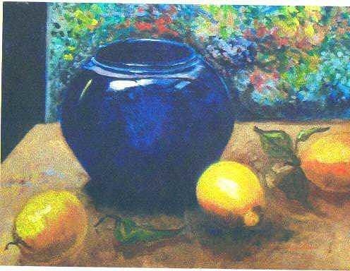 Cobalt Bowl and Lemons Painting by Martha Sterling Stroman