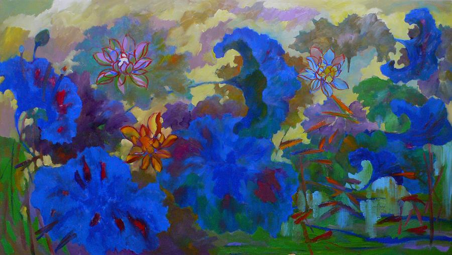 Lotus Painting - Cobalt Lotus by Tung Nguyen Hoang