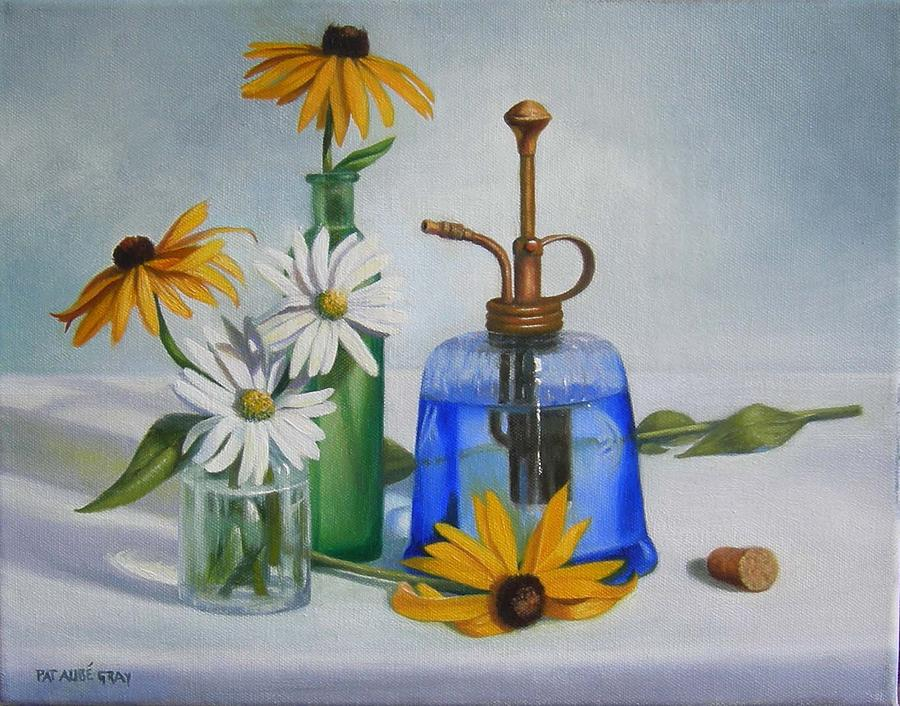 Glass Painting - Cobalt Mister by Pat Aube Gray