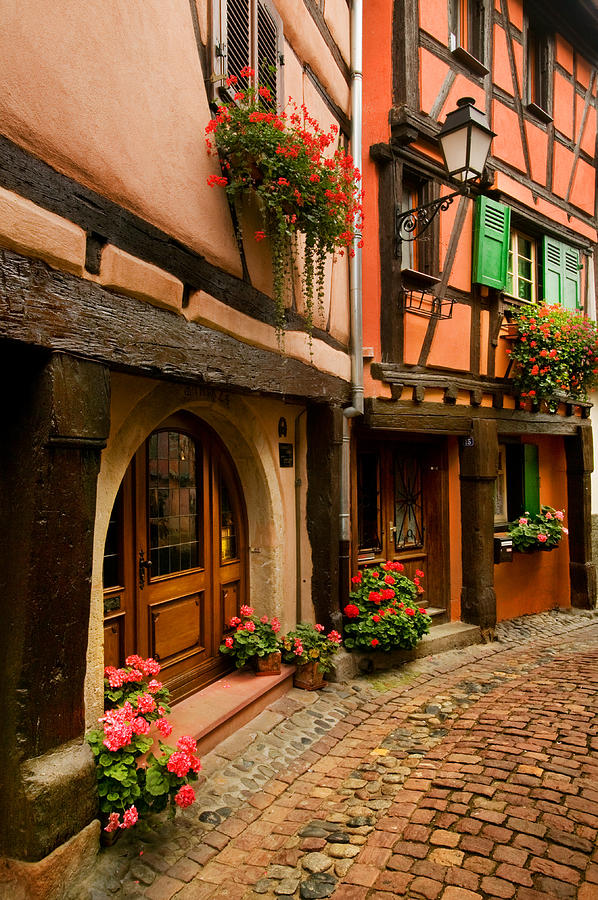 Alsace Photograph - Cobble Stoned Street by John Galbo