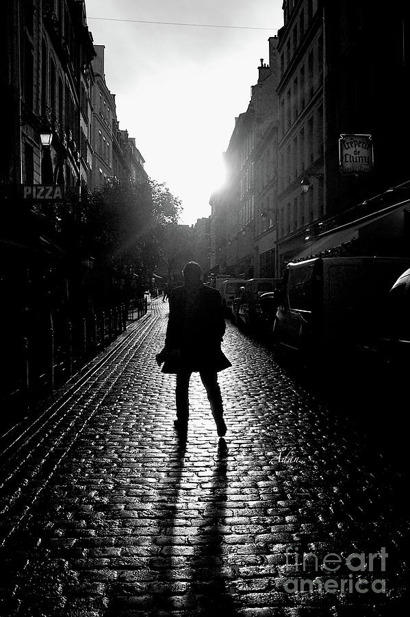 Paris Photograph - Cobblestone Path Home Paris Bw by Felipe Adan Lerma