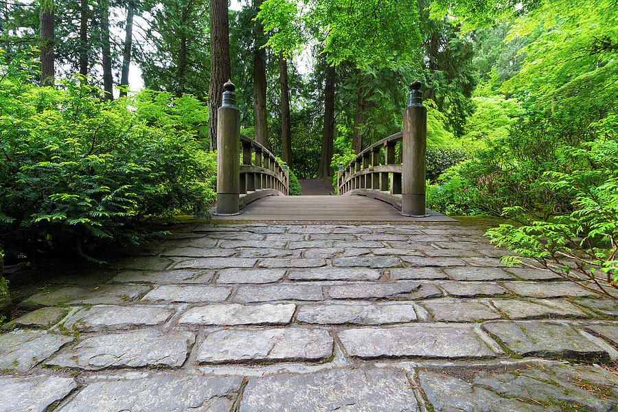 Wood Photograph - Cobblestone Path to Wood Bridge by David Gn