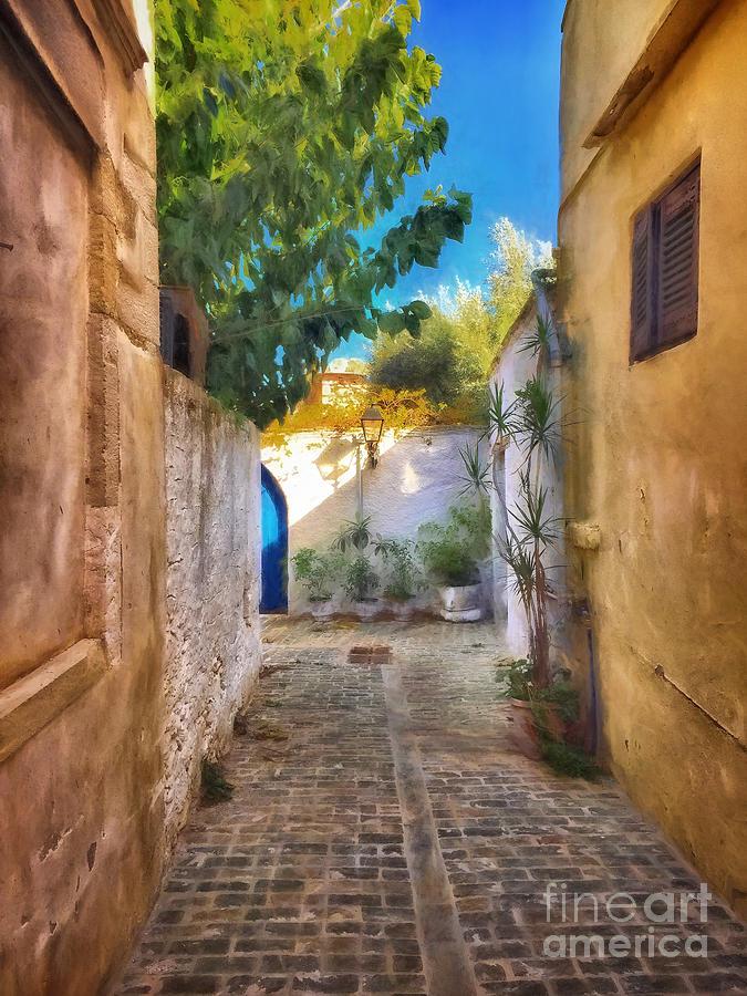 Crete Photograph - Cobblestone Road In Crete by HD Connelly