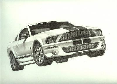 Car Drawing - Cobra 2 by Wanda Edwards