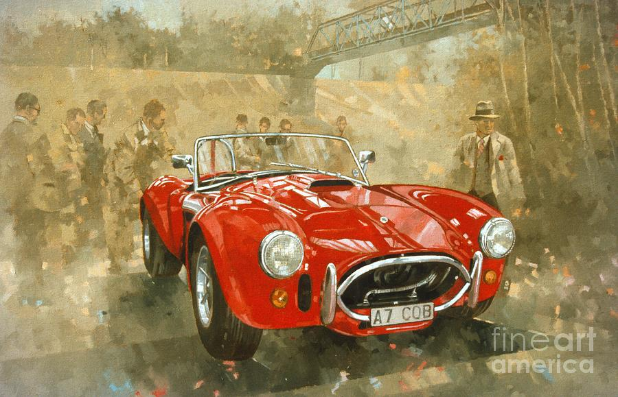 Race Track Wall Art >> Cobra At Brooklands Painting by Peter Miller