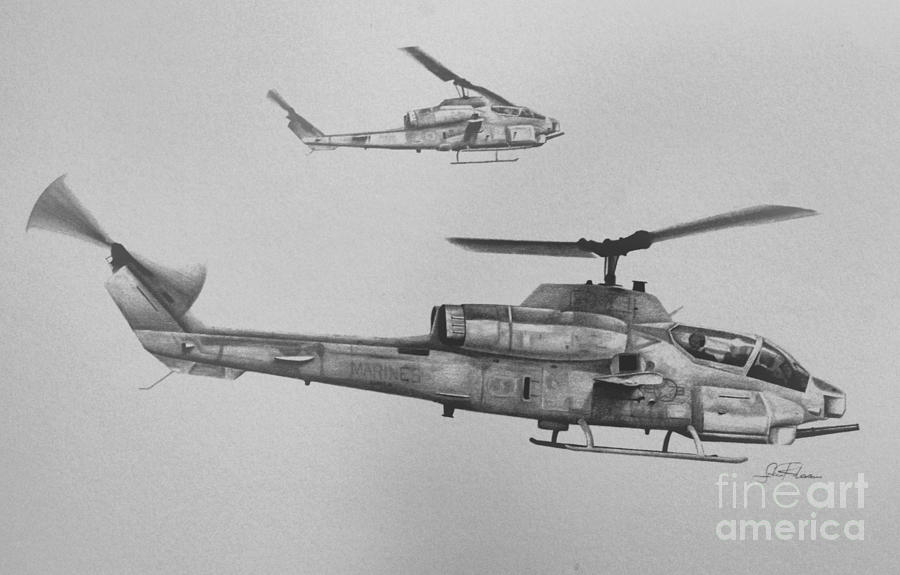 Ah-1w Drawing - Cobra Section by Stephen Roberson
