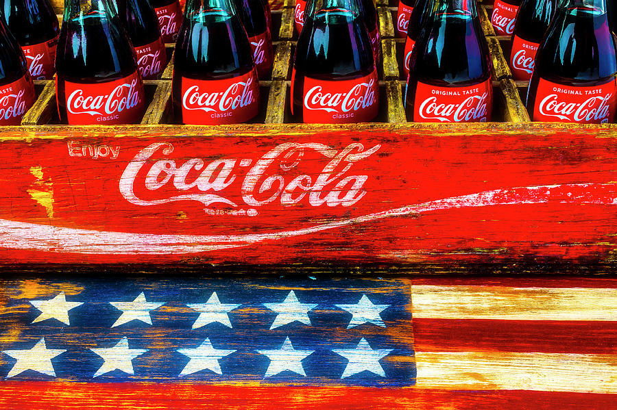 Cola Photograph - Coca Cola And Wooden American Flag by Garry Gay