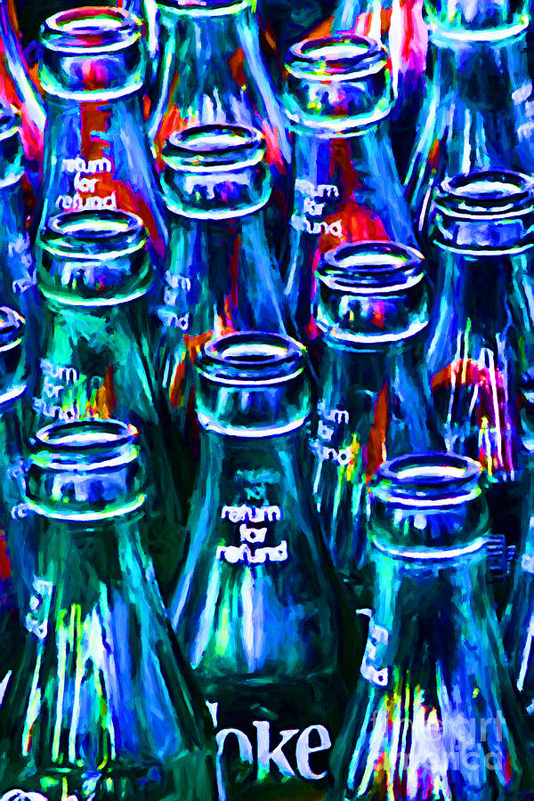 Coke Bottle Photograph - Coca-cola Coke Bottles - Return For Refund - Painterly - Blue by Wingsdomain Art and Photography