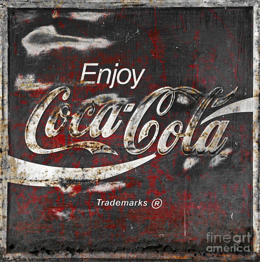 Coca Cola Photograph - Coca Cola Grunge Sign by John Stephens