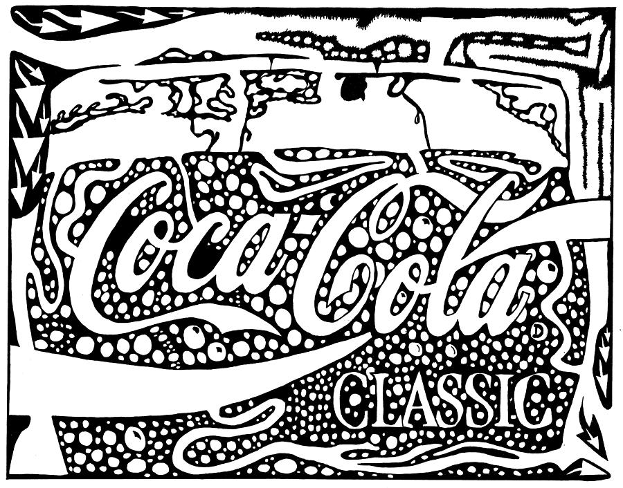 Coca Drawing - Coca-Cola maze advertisement  by Yonatan Frimer Maze Artist