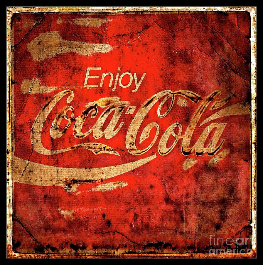 Coca Cola Square Aged Texture Black Border Photograph