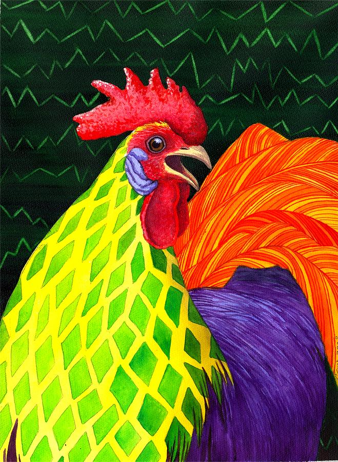 Rooster Painting - Cock a Doodle Dude II by Catherine G McElroy