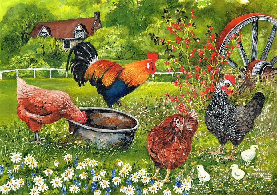Three Chickens Painting - Cock Of The Walk by Val Stokes