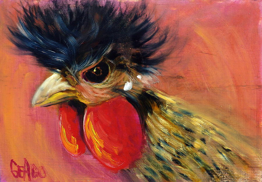 Roosters Painting - Cock Robin by Sally Seago