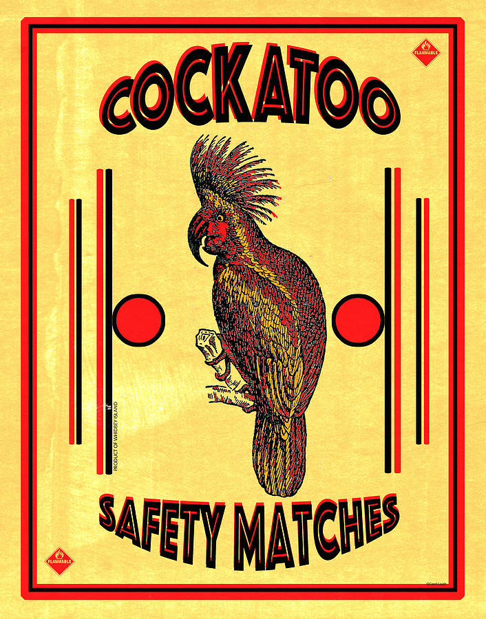 Matchbox Digital Art - Cockatoo Safety Matches by Carol Leigh