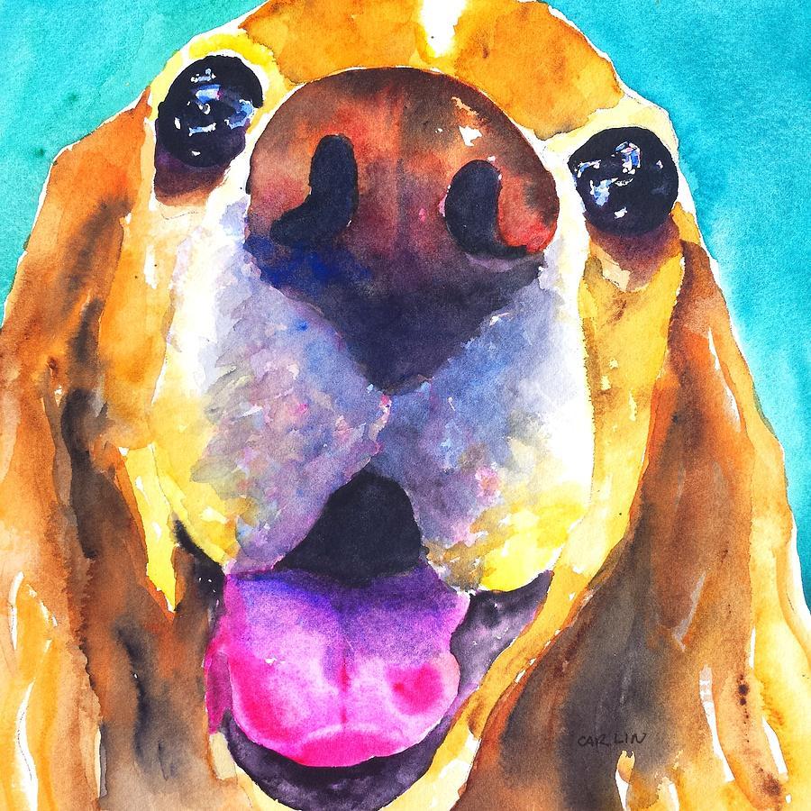 Dog Portrait Painting - Cocker Spaniel Dog Smile by Carlin Blahnik CarlinArtWatercolor