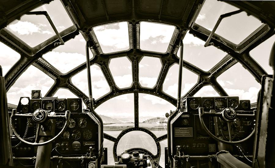 Cockpit View Of B-29 Bomber Airplane Photograph