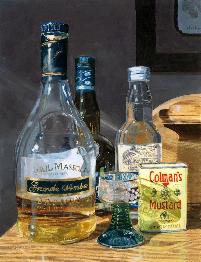 Cocktails Painting - Cocktails and Mustard by Lynne Reichhart