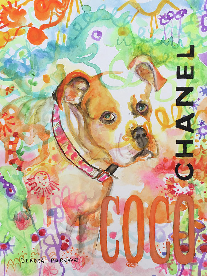 Rescue Dog Painting - Coco Chanel by Deborah Burow