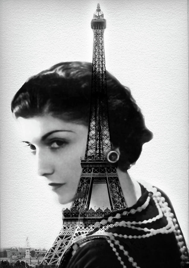 Coco Chanel Paris Eiffel Tower By Diana Van Painting