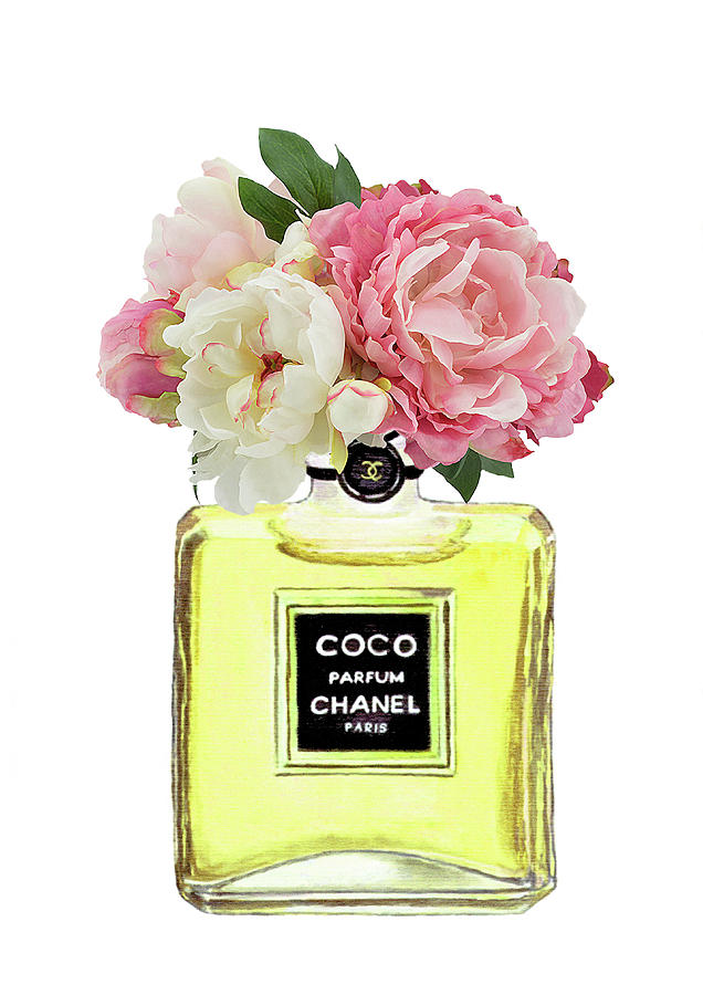 coco chanel perfume with pink peony painting by del art