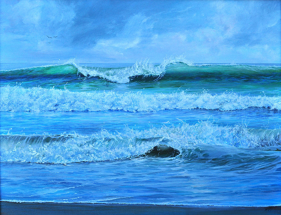 Florida Painting - Cocoa Beach Surf by AnnaJo Vahle