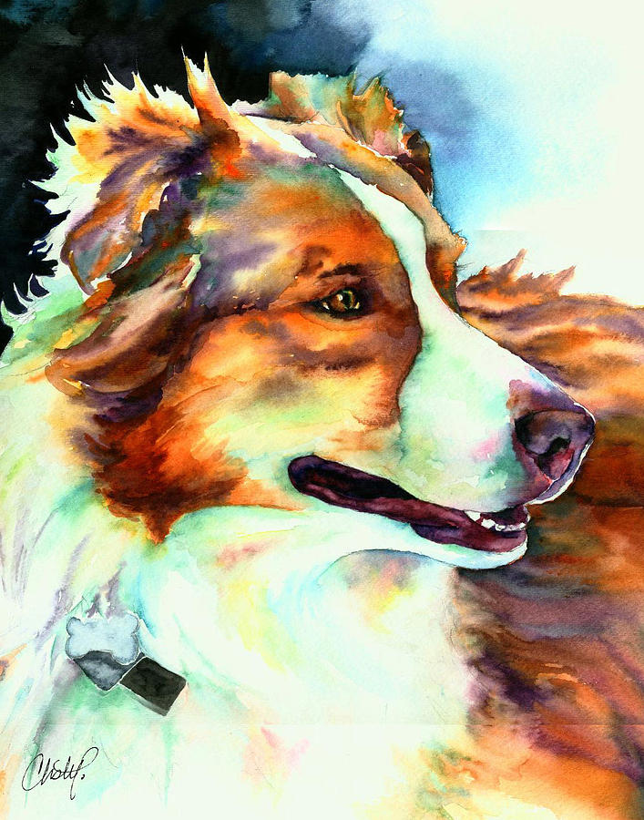 Dog Painting - Cocoa Lassie Collie Dog by Christy  Freeman