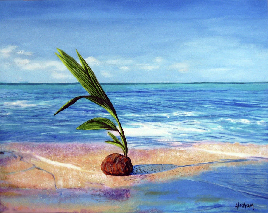 Ocean Painting - Coconut on beach by Jose Manuel Abraham