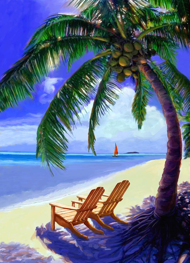 Beach Scene Painting - Coconut Palm by David Van Hulst