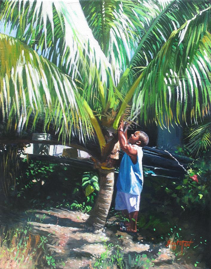 Tree Painting - Coconut Shade by Colin Bootman