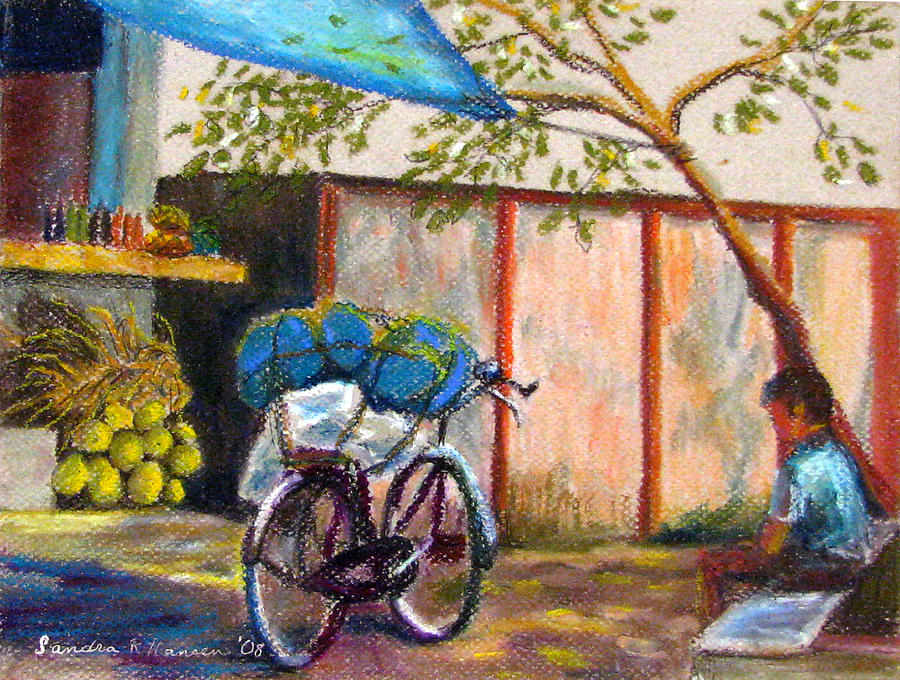 India Painting - Coconut Stand by Art Nomad Sandra  Hansen