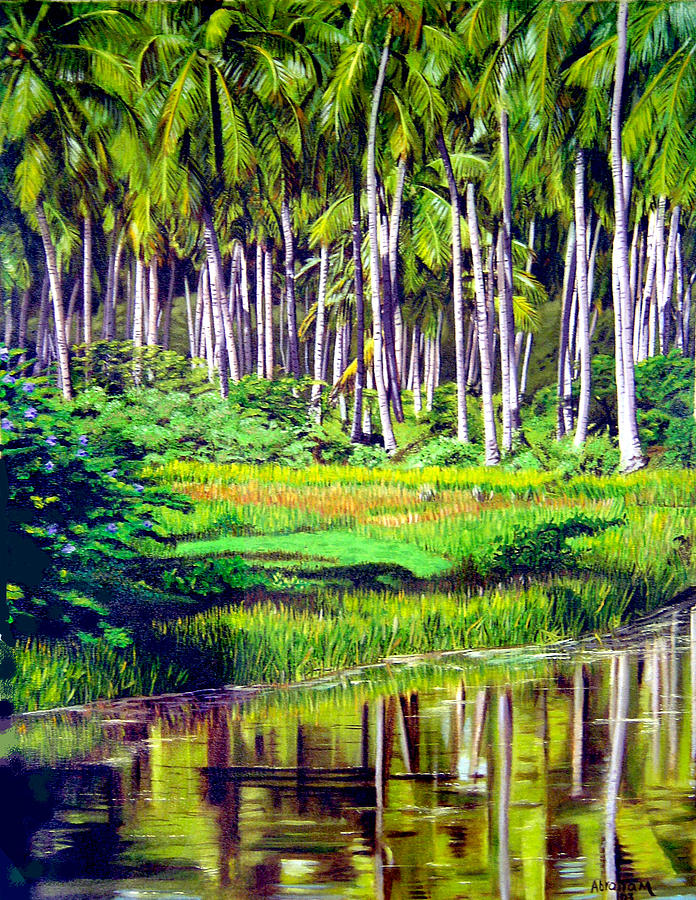 Coconuts Trees Painting by Jose Manuel Abraham