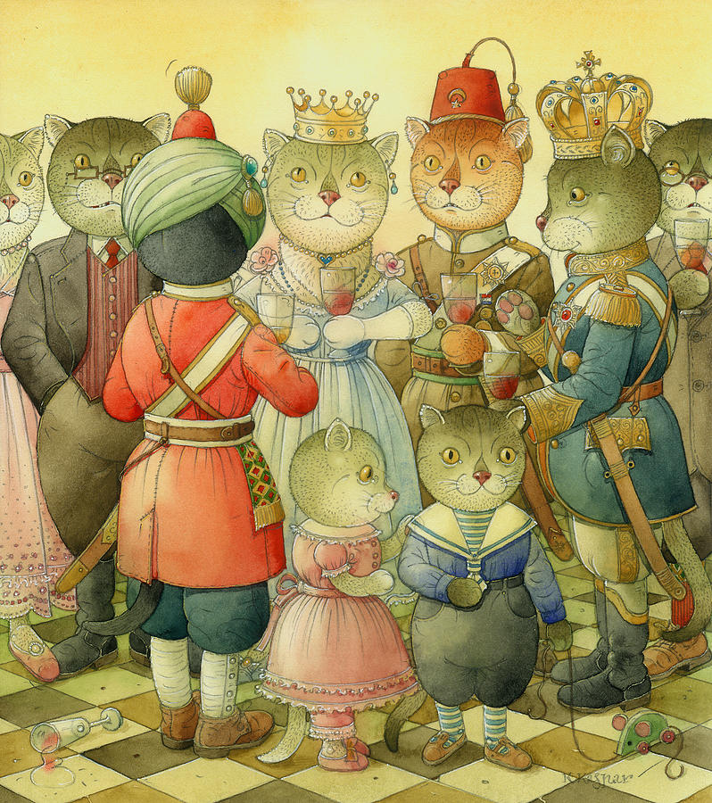 Cats Painting - Coctail Party by Kestutis Kasparavicius