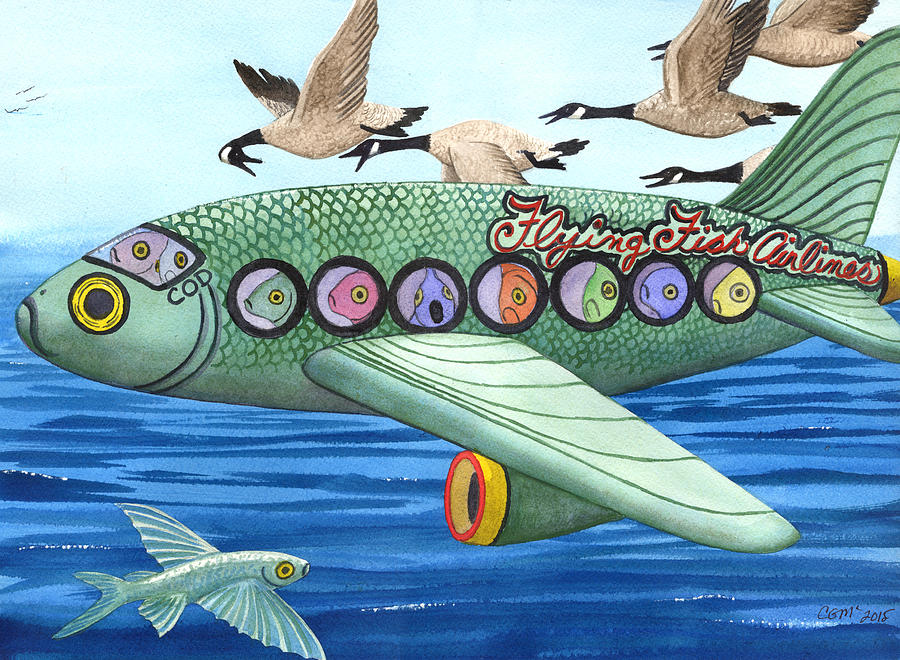 Flying Fish Painting - Cod is my co-pilot by Catherine G McElroy