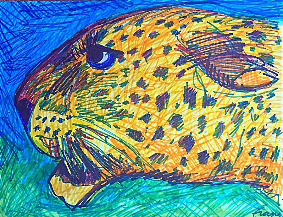 Leopard Drawing - Codys Critters - Louie the Leopard by George Frayne