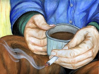 Coffee And A Cigarette Painting by Aislinn Brander